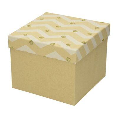 Díszdoboz karácsonyi Kraft L 22x22x16 arany
