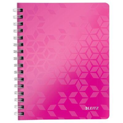 Spirálfüzet LEITZ Wow A/5 80 lapos kockás rózsaszín