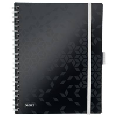 Spirálfüzet LEITZ Wow Active A/4 80 lapos kockás fekete
