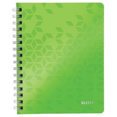 Spirálfüzet LEITZ Wow A/5 80 lapos kockás zöld