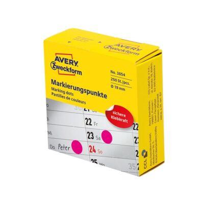 Etikett AVERY 3854 öntapadó jelölőpont adagoló dobozban pink 19mm 250 jelölőpont/doboz