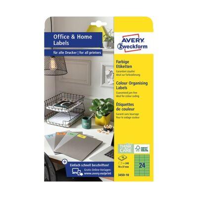 Etikett AVERY 3450-10 70x37mm univerzális zöld 240 címke/doboz 10 ív/doboz