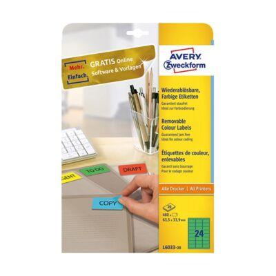 Etikett AVERY L6033-20 63,5x33,9mm univerzális zöld 480 címke/doboz 20 ív/doboz