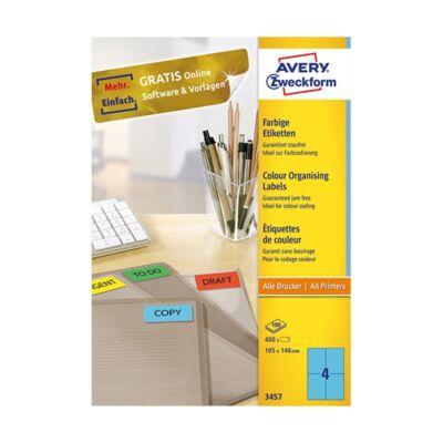 Etikett AVERY 3457 105x148 mm kék univerzális 400 címke/doboz 100 ív/doboz
