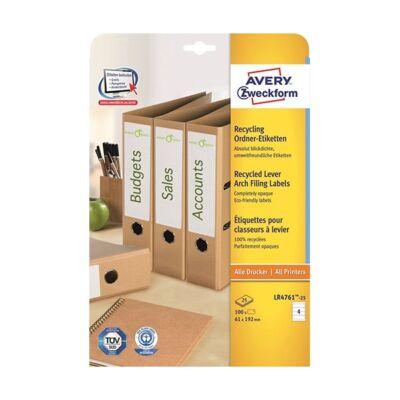 Etikett AVERY LR4761-25 61x192mm iratrendező címke környezetbarát 120 címke/doboz 30 ív/doboz