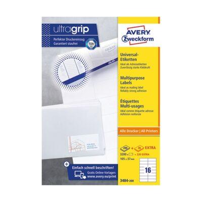 Etikett AVERY 3484-200 105x37 mm fehér univerzális 3520 címke/doboz 200+20 ív/doboz