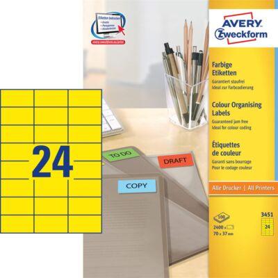 Etikett AVERY 3451 70x37mm univerzális sárga 2400 címke/doboz 100 ív/doboz