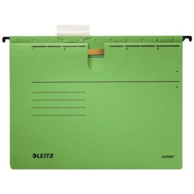 Függőmappa gyorsfűző szerkezettel LEITZ Alpha A/4 karton zöld 25 db/doboz