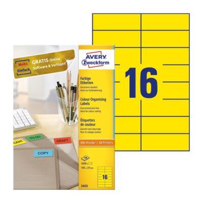 Etikett AVERY 3455 105x37mm univerzális sárga 1600 címke/doboz 100 ív/doboz