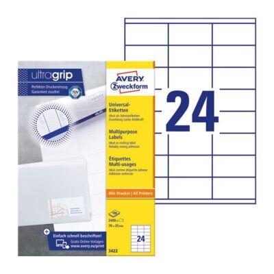 Etikett AVERY 3422 70x35mm univerzális 2400 címke/doboz 100 ív/doboz