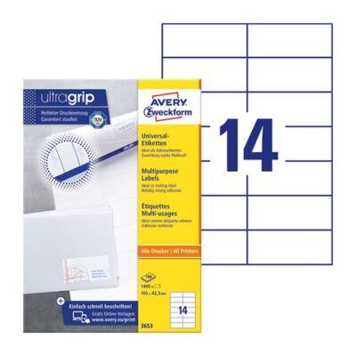 Etikett AVERY 3653 105x42,3mm univerzális 1400 címke/doboz 100 ív/doboz