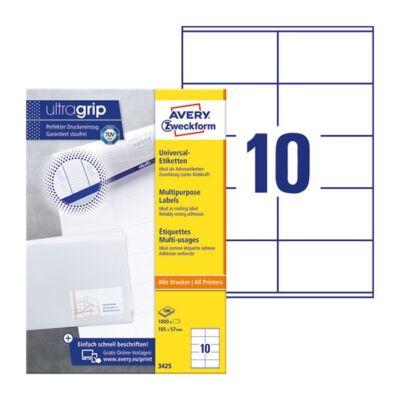 Etikett AVERY 3425 105x57mm univerzális 1000 címke/doboz 100 ív/doboz