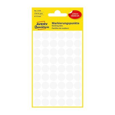 Etikett AVERY 3145 jelölőpont 12mm fehér 270 db/csomag