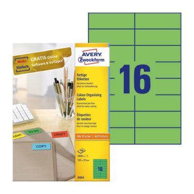 Etikett AVERY 3454 105x37mm univerzális zöld 1600 címke/doboz 100 ív/doboz