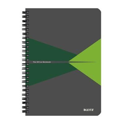 Spirálfüzet LEITZ Office A/5 karton borítóval 90 lapos kockás zöld