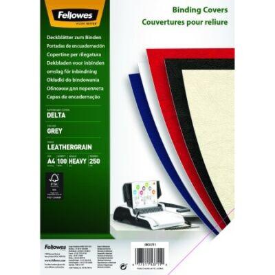 Hátlap FELLOWES Delta A/4 250g matt bőrhatású szürke 100/csom