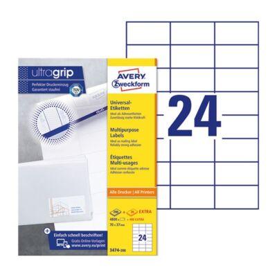 Etikett AVERY 3474-200 70X37mm univerzális 4800 címke/doboz 200+20 ív/doboz