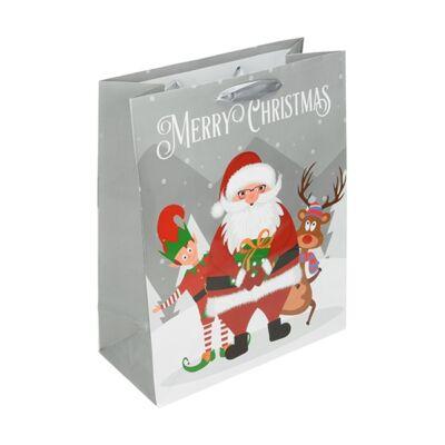 Ajándéktasak Special karácsonyi L 26x32x12 karácsonyi mikulás  mintával sötétkék szürek pasztell kék