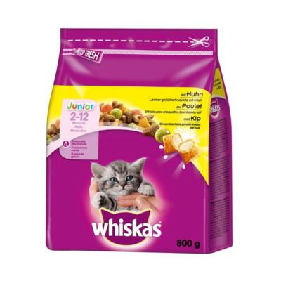 Állateledel száraz WHISKAS Junior macskáknak csirkehússal 800g