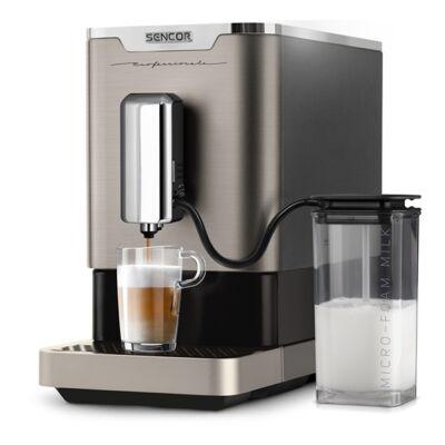 Automata kávéfőző SENCOR SES 9020NP egyszemélyes tejhabosítóval szürke