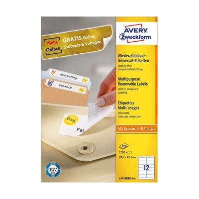 Etikett AVERY L4743REV-100 99,1x42,3 mm univerzális visszaszedhető 1200 címke/doboz 100 ív/doboz