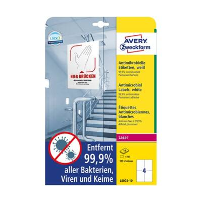 Etikett AVERY L8003-10 105x148mm antimikrobiális fehér 40 címke/doboz 10 ív/doboz