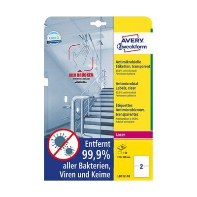 Etikett AVERY L8012-10 210x148mm antimikrobiális átlátszó 20 címke/doboz 10 ív/doboz