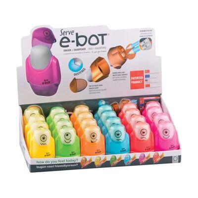 Radír+hegyező SERVE e-bot vegyes színek